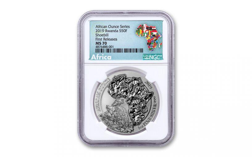 2019 Rwanda 50 Francs 1-oz Silver African Shoebill NGC MS70 First Releases