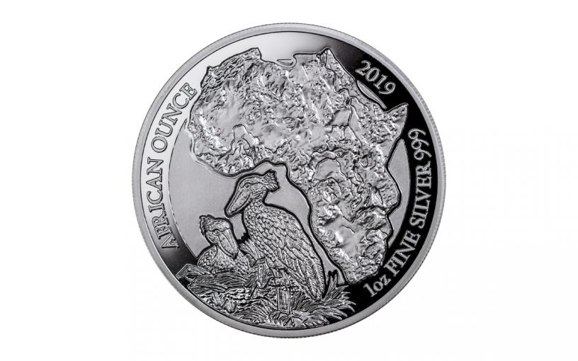 2019 Rwanda 50 Francs 1-oz Silver African Shoebill Proof