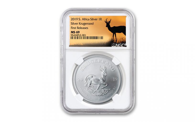 2019 South Africa 1-oz Silver Krugerrand NGC MS69 First Releases - Springbok Label