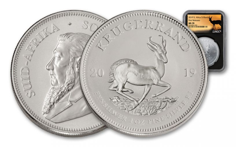 2019 South Africa 1-oz Silver Krugerrand NGC MS70 First Releases - Springbok Label