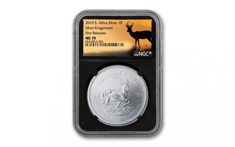 2019 South Africa 1-oz Silver Krugerrand NGC MS70 First Releases - Black Core, Springbok Label