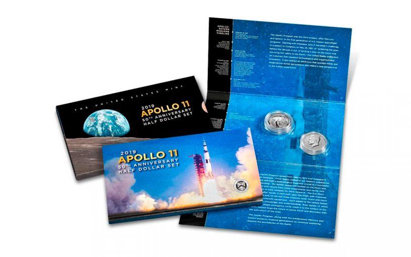 2019-S Apollo 11 50th Anniversary Half Dollar & Kennedy Half Dollar 2-Piece Proof Set