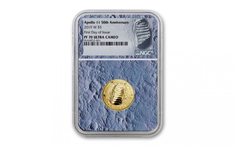 2019-W Apollo 11 50th Anniversary $5 Gold NGC PF70UC First Day of Issue