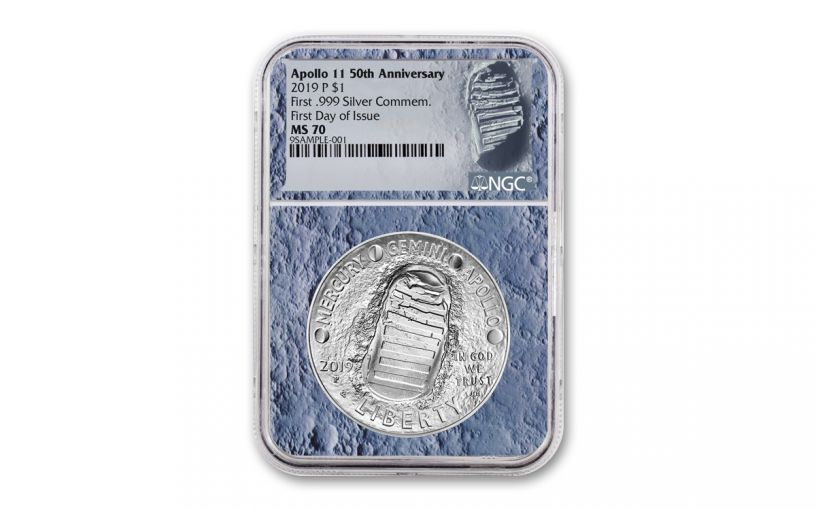 2019-P Apollo 11 50th Anniversary Silver Dollar NGC MS70 First Day of Issue - Moon Core with Mission Patch