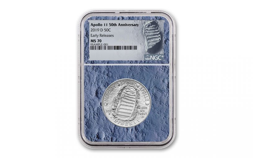 2019-S Apollo 11 50th Anniversary Clad Half Dollar NGC MS70 Early Releases - Moon Core with Mission Patch