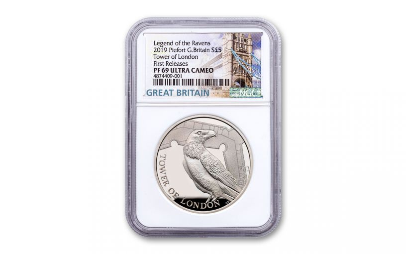 2019 Great Britain £5 Silver Tower of London Ravens Piedfort NGC PF69UC First Releases
