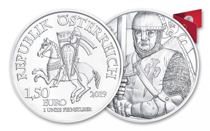 2019 Austria 1-oz Silver Leopold V 825th Anniversary of Vienna Mint BU