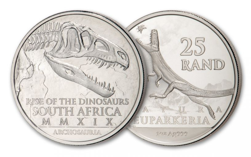 2019 South Africa 1-oz Silver Natura Euparkeria Dinosaur BU
