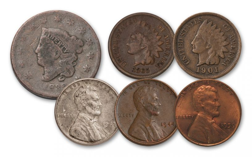 """1818-1959 """"1 Cent"""" Type Set 6-Piece Collection VG-AU"""