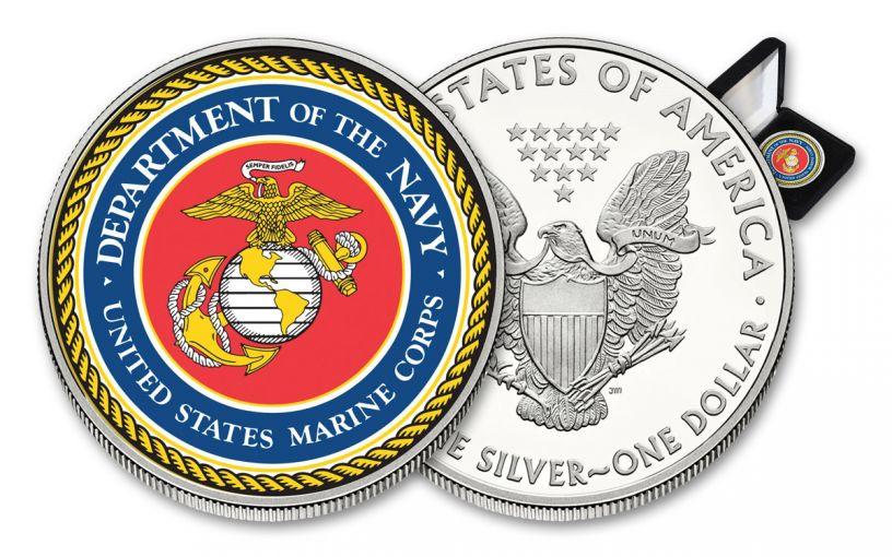 U.S. Armed Forces Marines $1 1-oz Silver American Eagle Colorized Commemorative BU