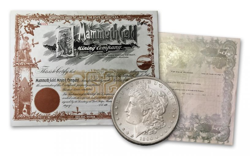 1890's Mammoth Gold Mining Stock Certificate and 1890-S Morgan Silver Dollar 2-Piece Set