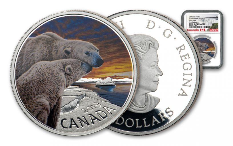 2019 Canada $20 1-oz Silver Fauna Polar Bear Colorized NGC PF70UC First Releases - Exclusive Canada Label
