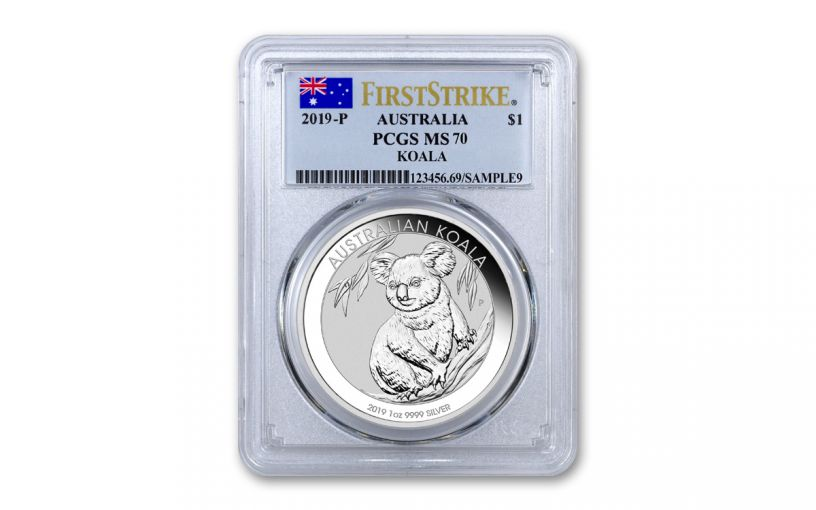 2019 Australia $1 1-oz Silver Koala PCGS MS70 First Strike - Flag Label