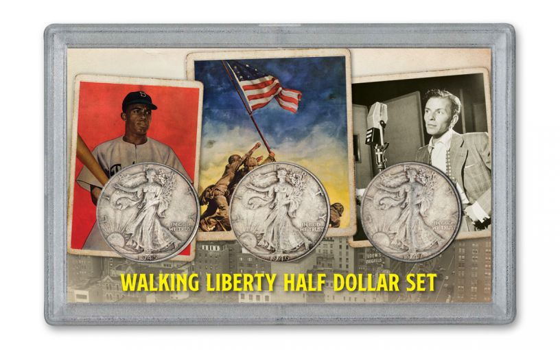 1945–1947-D Walking Liberty Half Dollar 3-Piece Set VF