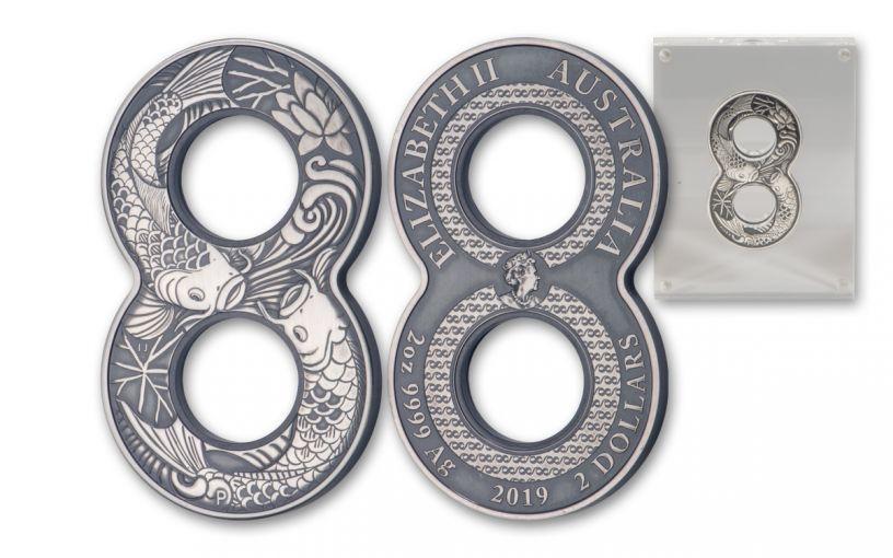 2019 Australia $2 2-oz Silver Figure Eight Koi Fish Antiqued