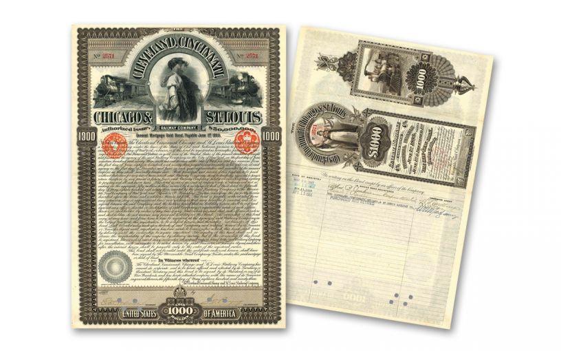 1893 Cleveland, Cincinnati, Chicago & St. Louis Railroad Bond Certificate