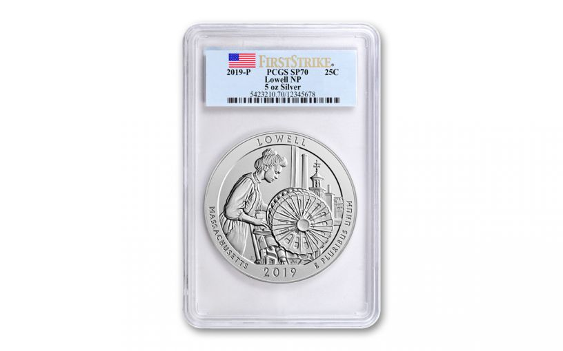 2019 Lowell National Historic Park 5-oz Silver Quarter America the Beautiful PCGS SP70 First Strike - Flag Label