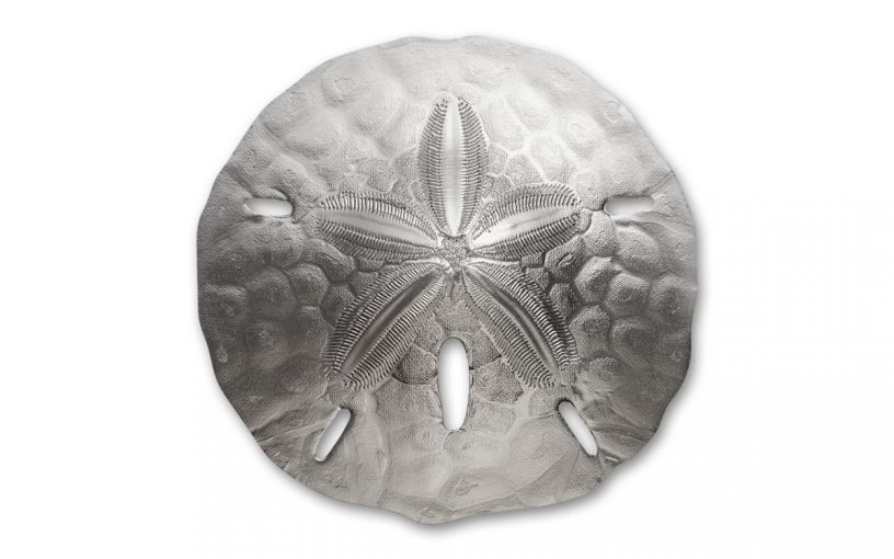 2019 Palau $1 1-oz Silver Sand Dollar-Shaped BU