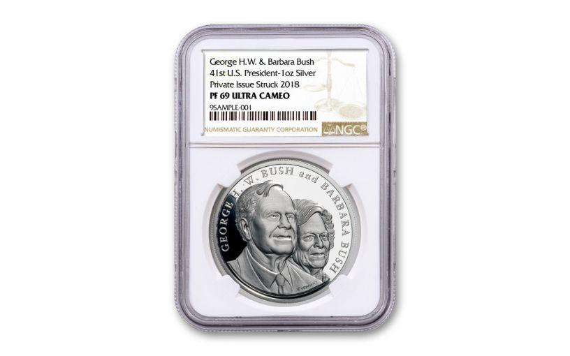 2018 George & Barbara Bush 1-oz Silver Commemorative Medal NGC PF69UC