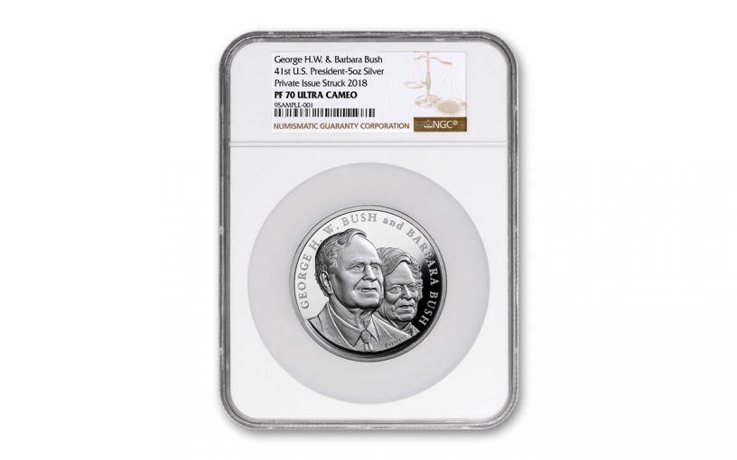 2018 George & Barbara Bush 5-oz Silver Commemorative Medal NGC PF70UC