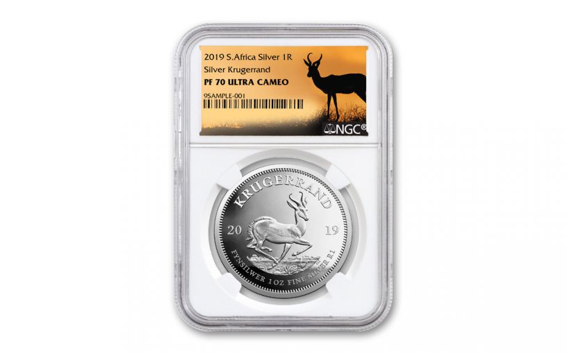 2019 South Africa 1-oz Silver Krugerrand NGC PF70UC - Springbok Label