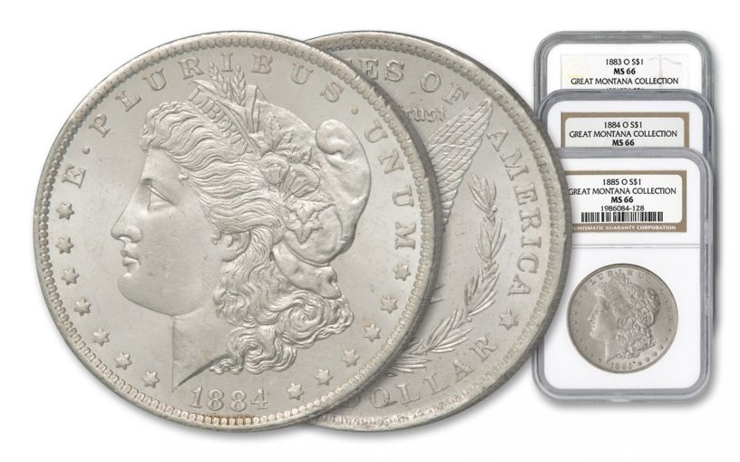 1883–1885-O $1 Morgan Silver Dollar 3-pc Great Montana Collection Set NGC MS66