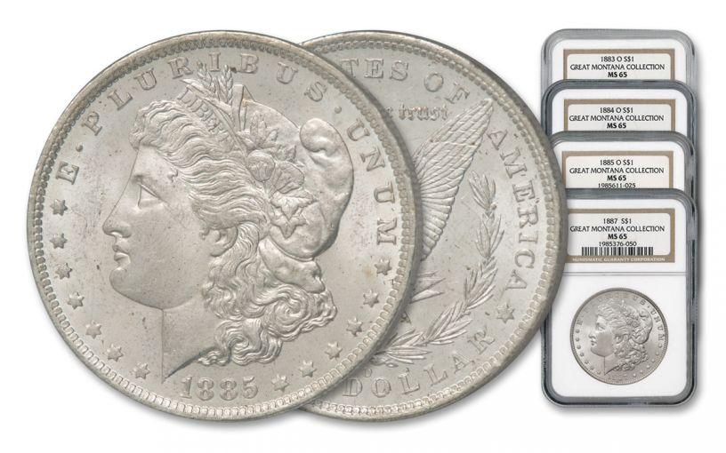 1883–1887-O/P $1 Morgan Silver Dollar 4-pc Great Montana Collection Set NGC MS65