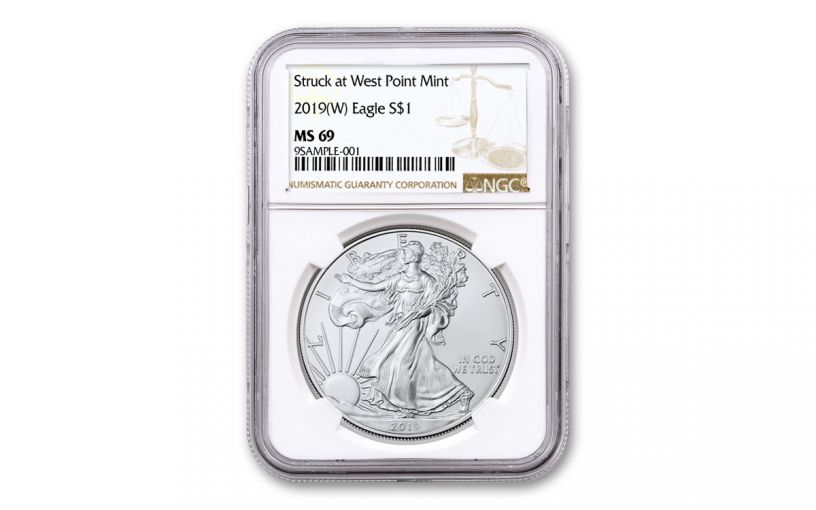 2019-W $1 1-oz Silver American Eagle Struck at West Point NGC MS69