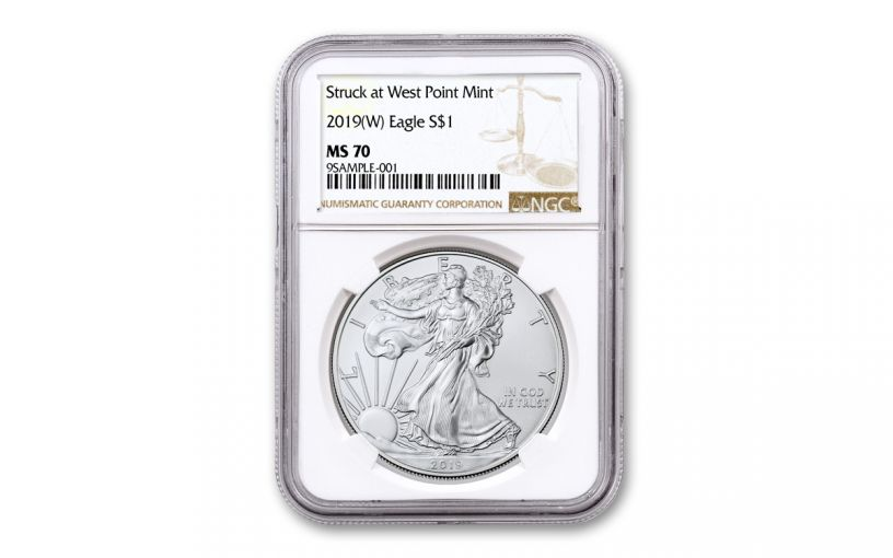 2019-W $1 1-oz Silver American Eagle Struck at West Point NGC MS70