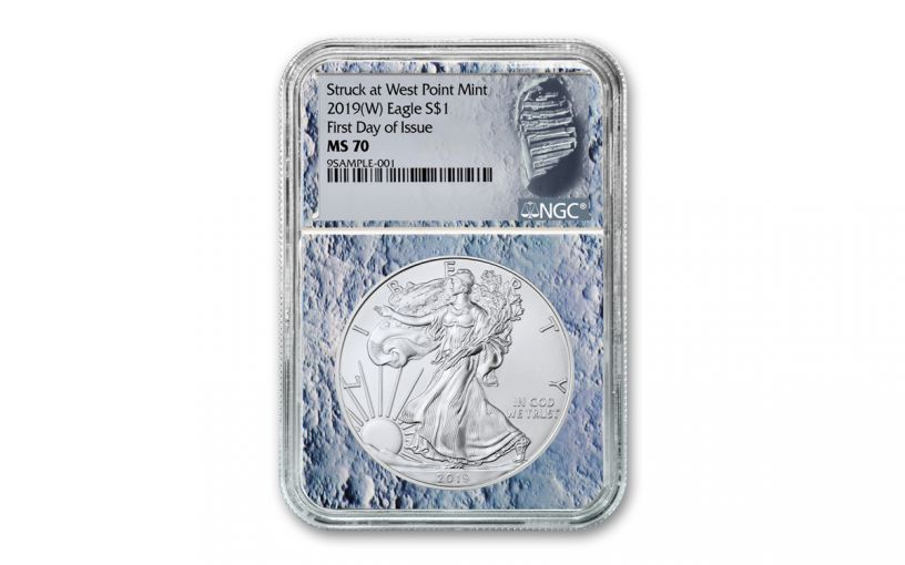 2019-(W) 1 Dollar 1-oz Silver Eagle Struck at West Point NGC MS70 First Day of Issue Moon Core