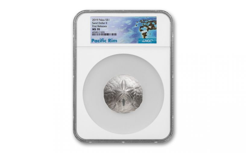 2019 Palau $1 1-oz Silver Sand Dollar-Shaped NGC MS70 First Releases - Pacific Rim Label