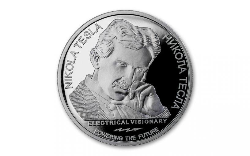 2018 Serbia 1-oz Silver Nikola Tesla Alternating Current Proof