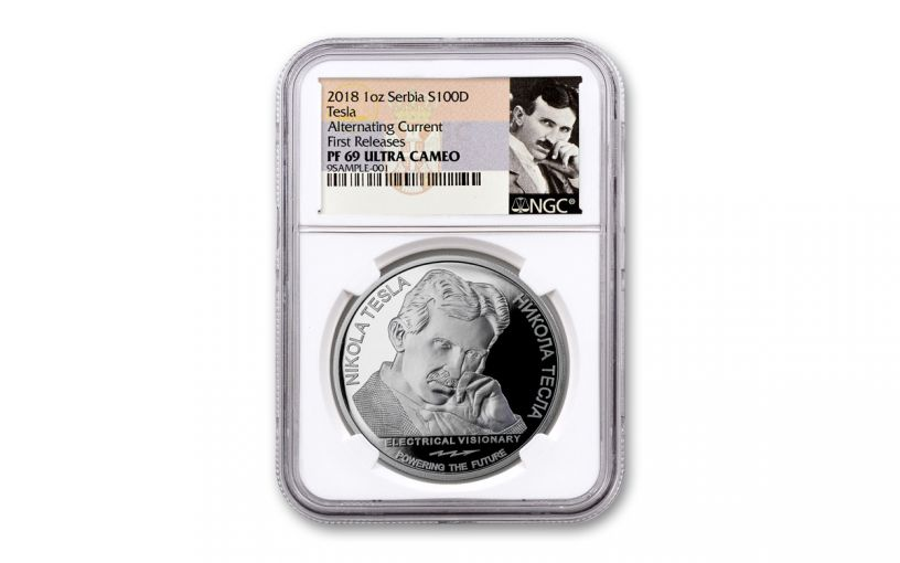 2018 Serbia 1-oz Silver Nikola Tesla Alternating Current NGC PF69UC First Releases - Tesla Label