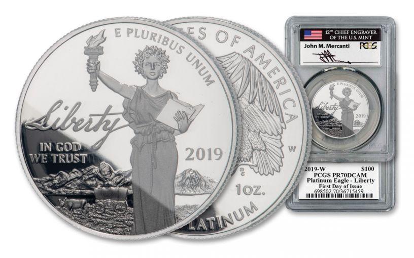 2019-W $100 1-oz Platinum Eagle PCGS PR70 DCAM FDI Mercanti Signed