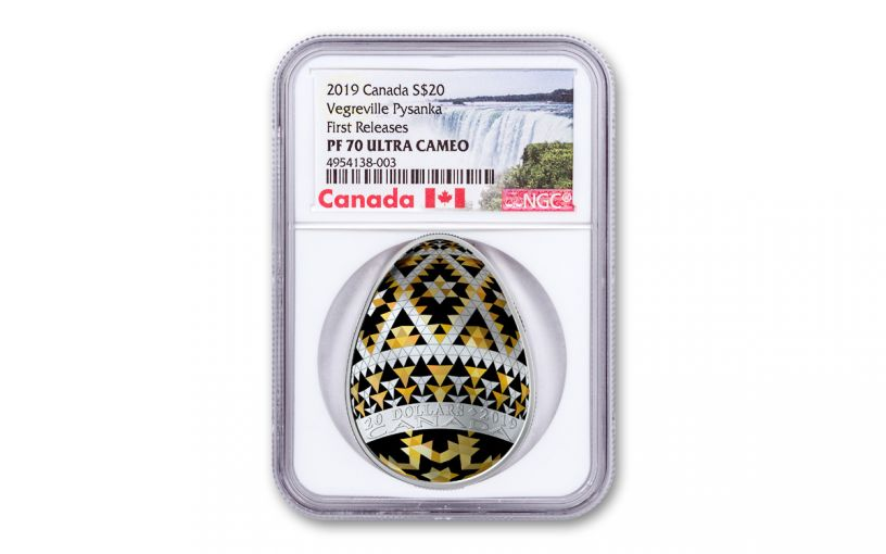 2019 Canada $20 1-oz Silver Pysanka Egg Vegreville Shaped NGC PF70UC First Releases - Canada Label