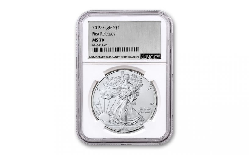 2019 $1 1-oz Silver American Eagle NGC MS70 First Releases - Silver Foil Label