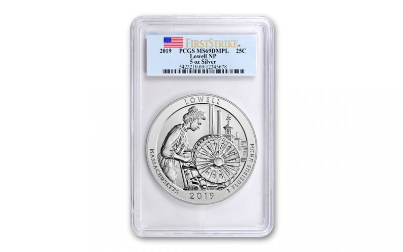 2019 5-oz Silver Quarter America the Beautiful Lowell National Historic Park PCGS MS69 DMPL First Strike