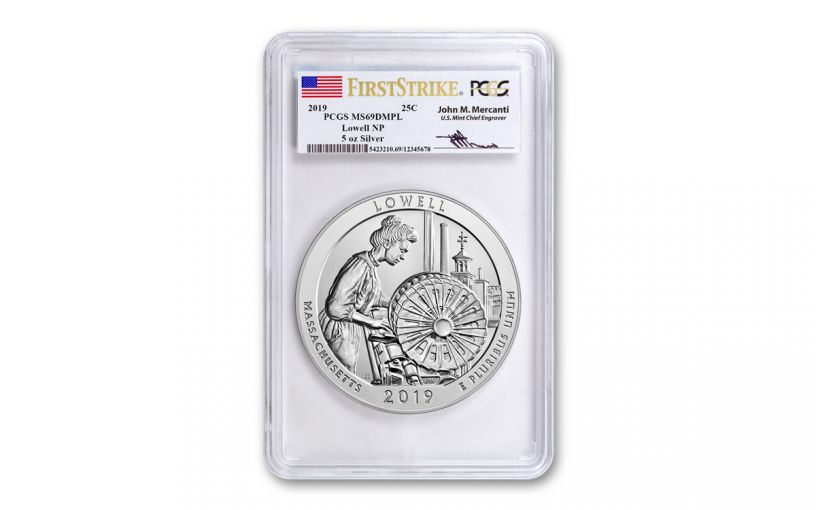 2019 5-oz Silver Quarter America the Beautiful Lowell National Historic Park PCGS MS69 DMPL First Strike - Mercanti Signed Label