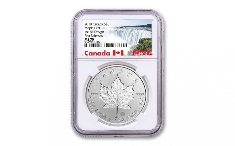 2019 Canada $5 1-oz Silver Incuse Maple Leaf NGC MS70 First Releases - Canada Label