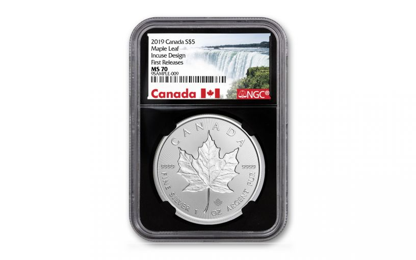 2019 Canada $5 1-oz Silver Incuse Maple Leaf NGC MS70 First Releases - Black Core, Canada Label