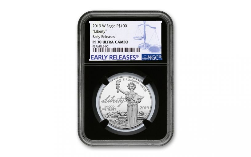 2019-W $100 1-oz Platinum American Eagle Liberty NGC PF70UC Early Releases - Black Core