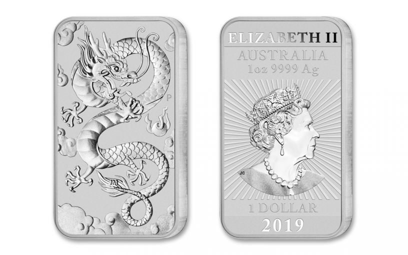 2019 Australia $1 1-oz Silver Dragon Bar BU