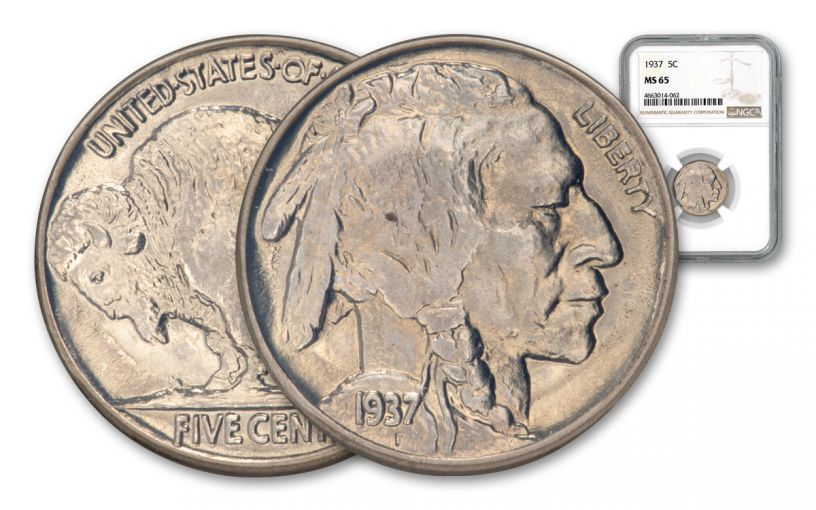 1937-P 5 Cents Buffalo Nickel NGC/PCGS MS65