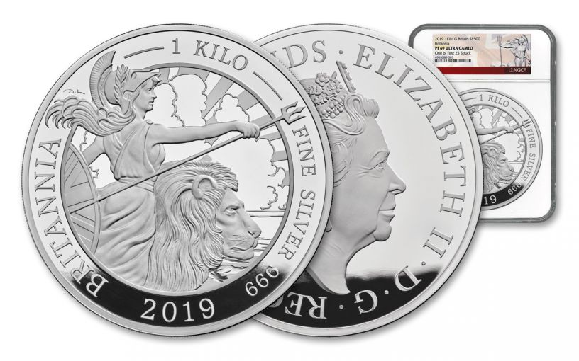 2019 Great Britain £500 Kilo Silver Britannia NGC PF69UC One of First 25 Struck
