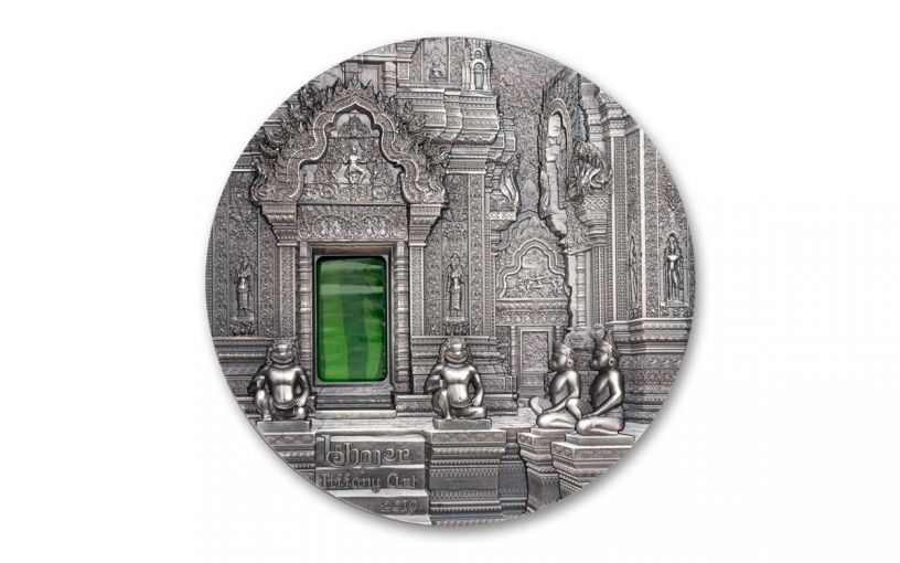 2019 Palau $10 2-oz Silver Khmer Angkor Wat Tiffany Art High Relief Antiqued BU