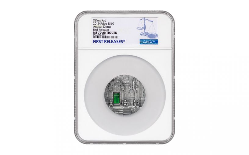 2019 Palau $10 2-oz Silver Angkor Wat Tiffany Art Coin NGC MS70 First Releases