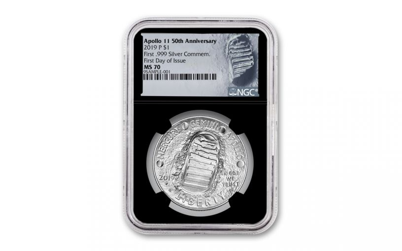2019-P Apollo 11 50th Anniversary Silver Dollar NGC MS70 First Day of Issue - Black Core, Astronaut Footprint Label