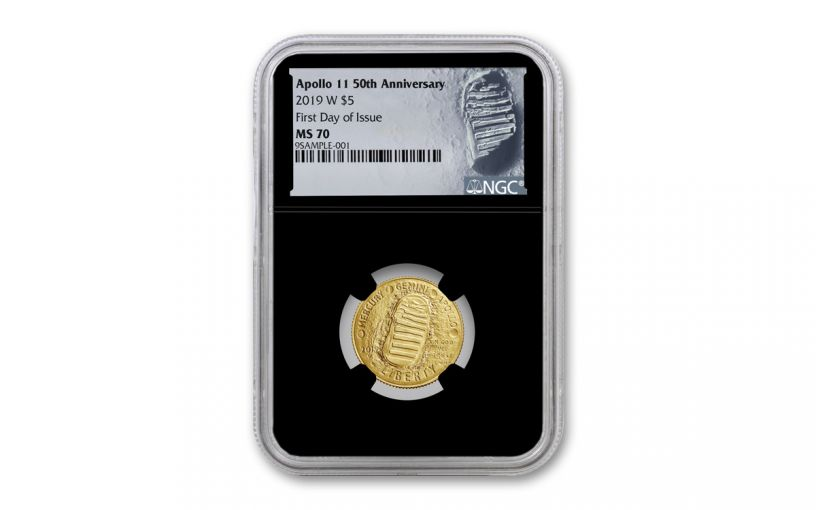 2019-W Apollo 11 50th Anniversary $5 Gold NGC MS70 First Day of Issue - Black Core, Astronaut Footprint Label