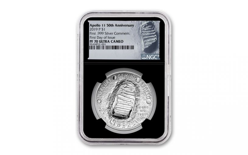 2019-P Apollo 11 50th Anniversary Silver Dollar NGC PF70UC First Day of Issue - Black Core, Astronaut Footprint Label