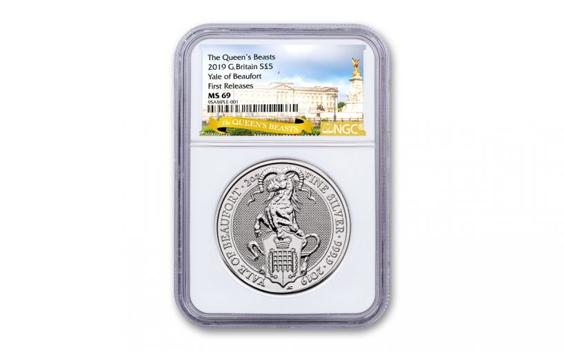 2019 Great Britain £5 2-oz Silver Queen's Beasts Yale of Beaufor NGC MS69 First Releases